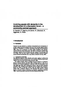 Involving people with dementia in the development of a discussion ...
