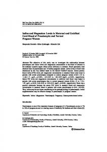 Iodine and Magnesium Levels in Maternal and Umbilical Cord Blood ...
