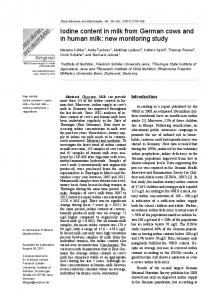 Iodine content in milk from German cows and in human milk: new ...
