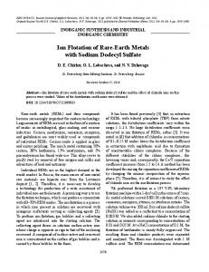 Ion Flotation of Rare-Earth Metals with Sodium ... - Springer Link