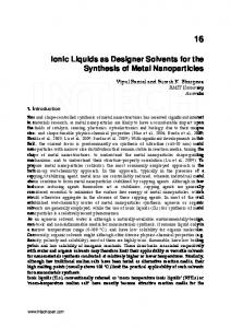 Ionic Liquids as Designer Solvents for the Synthesis