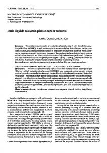 Ionic liquids as starch plasticizers or solvents
