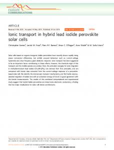 Ionic transport in hybrid lead iodide perovskite solar cells - Nature