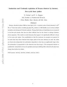 Ionization and Coulomb explosion of Xenon clusters by intense, few