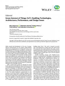 (IoT): Enabling Technologies, Architectures, Performance, and Design