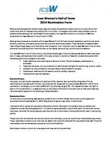Iowa Women's Hall of Fame 2014 Nomination Form