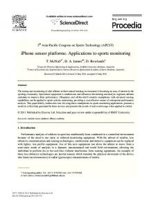 iPhone sensor platforms: Applications to sports ...