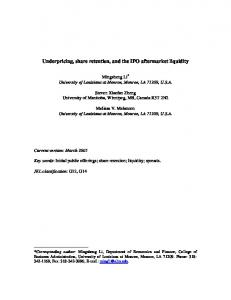 IPO retention, lockup and aftermarket liquidity - SSRN papers