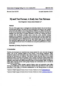 IQ and Test Format: A Study into Test Fairness