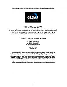 IRAM Memo 2017-1 Observational examples of spectral line ...