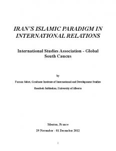 Irans Islamic Paradigm in International Relations final - First Global ...