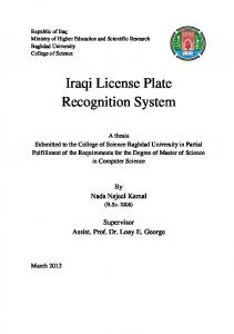 Iraqi License Plate Recognition System
