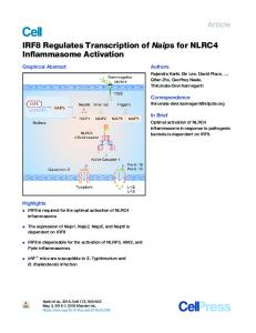 IRF8 Regulates Transcription of Naips for NLRC4 Inflammasome