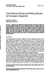 Irish Political Parties and Policy Stances on European ... - Ken Benoit
