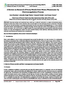 IRJET- A Review on Removal of Heavy Metals from Water/Wastewater by Electrocoagulation Process