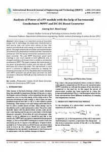 IRJET-  Analysis of Power of a PV Module with the Help of Incremental Conductance MPPT and DC-DC Boost Converter