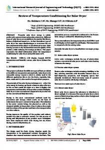 IRJET-     Review of Temperature Conditioning for Solar Dryer