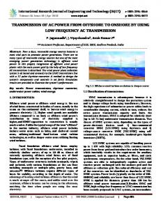 IRJET- Transmission of Ac Power from Offshore to Onshore by using Low Frequency Ac Transmission