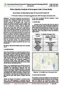 IRJET- Water Quality Analysis of Avaragere Lake- A Case Study