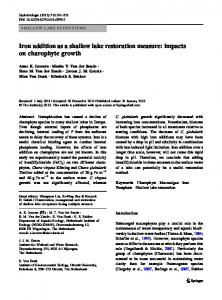Iron addition as a shallow lake restoration measure - Springer Link