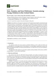 Iron, Anemia, and Iron Deficiency Anemia among Young ... - MDPI