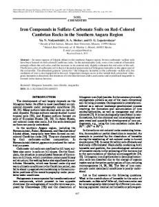 Iron Compounds in Sulfate Carbonate Soils on Red ... - Springer Link