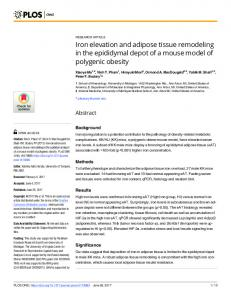 Iron elevation and adipose tissue remodeling in the ... - PLOS