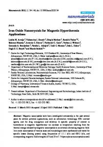 Iron Oxide Nanocrystals for Magnetic Hyperthermia Applications - MDPI