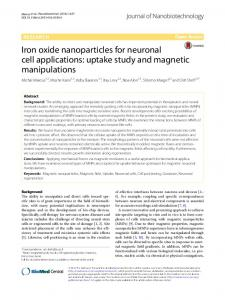 Iron oxide nanoparticles for neuronal cell