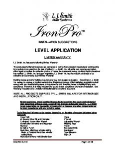 IronPro Level Kit Detailed Installation Instructions