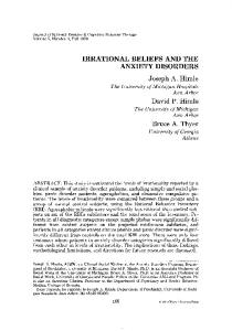 Irrational beliefs and the anxiety disorders - Springer Link