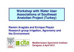 irrigation, agronomy and the environment
