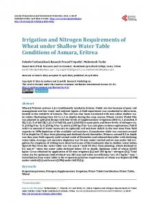 Irrigation and Nitrogen Requirements of Wheat