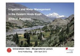 Irrigation and Water Management in the Eastern ...