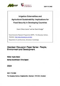 Irrigation Externalities and Agricultural Sustainability - The Macaulay ...