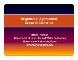 Irrigation of Agricultural Crops in California - Air Resources Board
