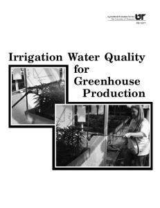 Irrigation Water Quality for Greenhouse Production - University of ...