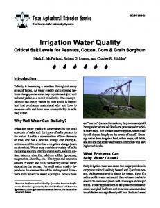 Irrigation Water Quality - Publications Soil and Crop Sciences - Texas ...