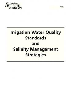 Irrigation Water Quality Standards and Salinity Management Strategies
