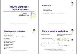 IRZ0140 Signals and Signal Processing