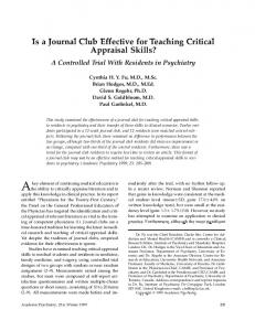 Is a Journal Club Effective for Teaching Critical Appraisal Skills ...