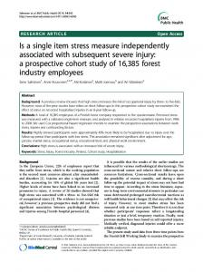 Is a single item stress measure independently associated with ...