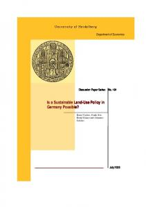Is a Sustainable Land-Use Policy in Germany Possible - Core