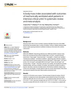 Is body mass index associated with outcomes of mechanically ... - PLOS
