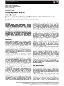 Is cloning horses ethical? - Wiley Online Library