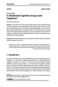 Is Distributed Cognition Group Level Cognition?
