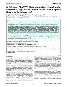 Is Follow-up BRAF Mutation Analysis Helpful in the Differential ...