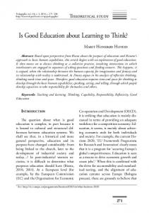 Is Good Education about Learning to Think?