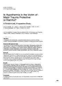Is Hypothermia in the Victim of Major Trauma Protective - NCBI