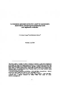 Is innovation persistent at the firm Level? An econometric examination ...